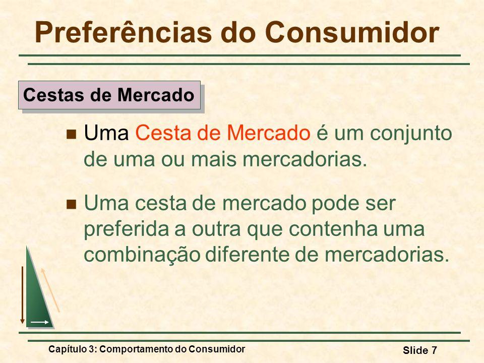 Capítulo 3: Comportamento do Consumidor Slide 7 Preferências do Consumidor Uma Cesta de Mercado é um conjunto de uma ou mais mercadorias. Uma cesta de