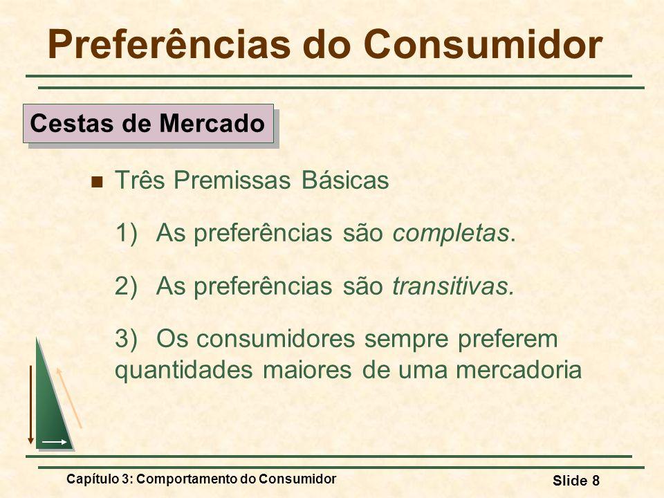 Capítulo 3: Comportamento do Consumidor Slide 8 Preferências do Consumidor Três Premissas Básicas 1) As preferências são completas. 2) As preferências