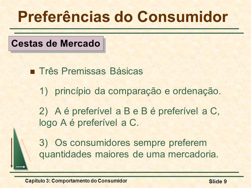 Capítulo 3: Comportamento do Consumidor Slide 9 Preferências do Consumidor Três Premissas Básicas 1) princípio da comparação e ordenação. 2) A é prefe