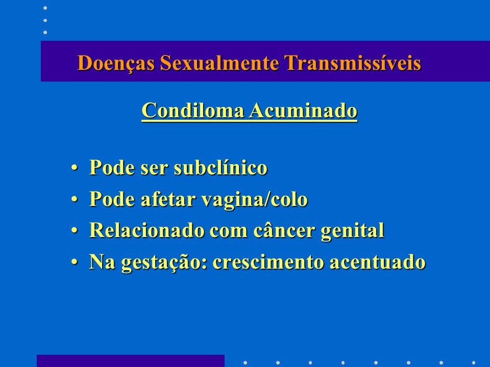 Pode ser subclínicoPode ser subclínico Pode afetar vagina/coloPode afetar vagina/colo Relacionado com câncer genitalRelacionado com câncer genital Na