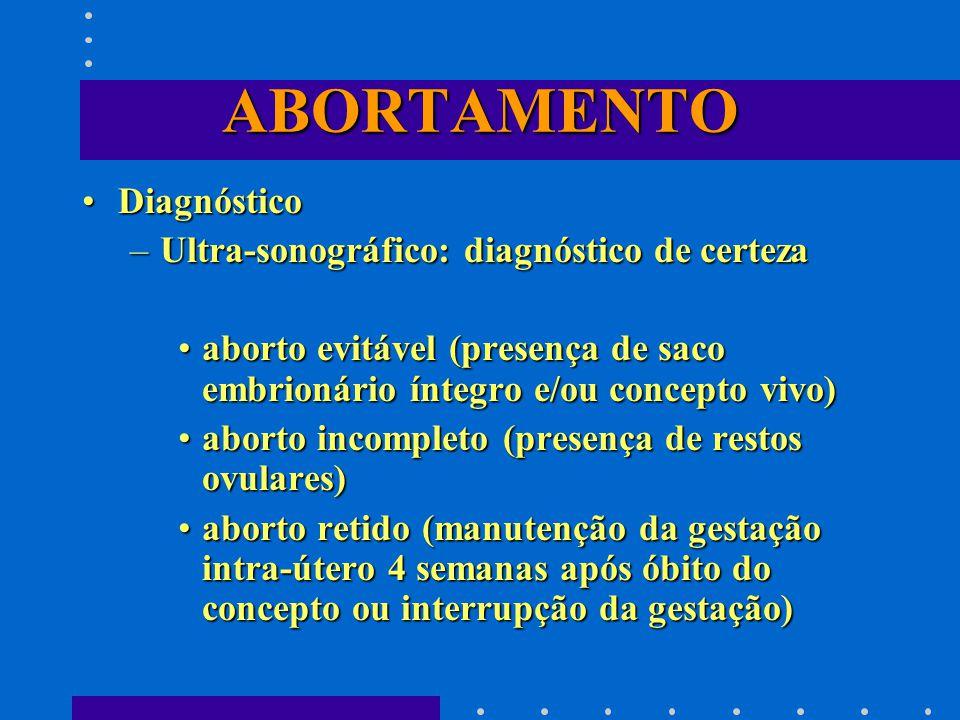 ABORTAMENTO DiagnósticoDiagnóstico –Ultra-sonográfico: diagnóstico de certeza aborto evitável (presença de saco embrionário íntegro e/ou concepto vivo)aborto evitável (presença de saco embrionário íntegro e/ou concepto vivo) aborto incompleto (presença de restos ovulares)aborto incompleto (presença de restos ovulares) aborto retido (manutenção da gestação intra-útero 4 semanas após óbito do concepto ou interrupção da gestação)aborto retido (manutenção da gestação intra-útero 4 semanas após óbito do concepto ou interrupção da gestação)