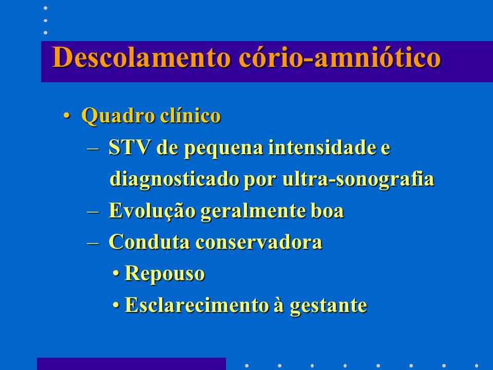 Descolamento cório-amniótico Quadro clínicoQuadro clínico – STV de pequena intensidade e diagnosticado por ultra-sonografia diagnosticado por ultra-so