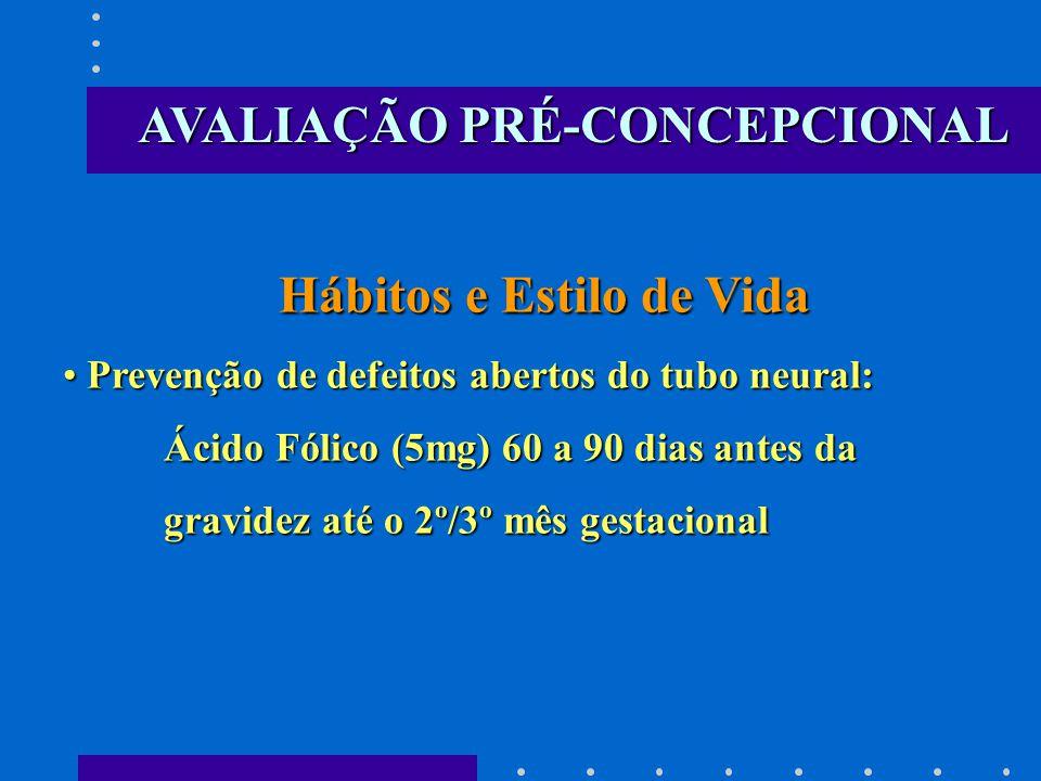 Hábitos e Estilo de Vida Hábitos e Estilo de Vida Prevenção de defeitos abertos do tubo neural: Prevenção de defeitos abertos do tubo neural: Ácido Fólico (5mg) 60 a 90 dias antes da Ácido Fólico (5mg) 60 a 90 dias antes da gravidez até o 2º/3º mês gestacional gravidez até o 2º/3º mês gestacional AVALIAÇÃO PRÉ-CONCEPCIONAL