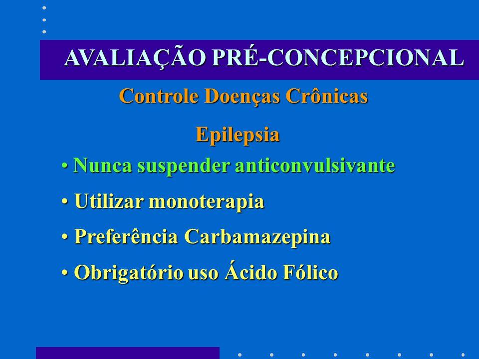 Controle Doenças Crônicas Epilepsia Epilepsia Nunca suspender anticonvulsivante Nunca suspender anticonvulsivante Utilizar monoterapia Utilizar monote