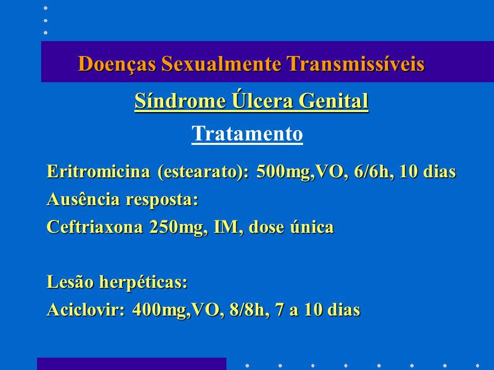 Eritromicina (estearato): 500mg,VO, 6/6h, 10 dias Ausência resposta: Ceftriaxona 250mg, IM, dose única Lesão herpéticas: Aciclovir: 400mg,VO, 8/8h, 7 a 10 dias Tratamento Doenças Sexualmente Transmissíveis Síndrome Úlcera Genital