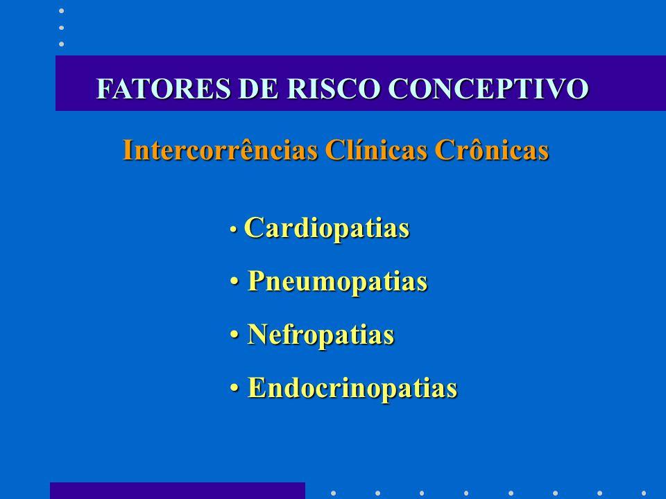Cardiopatias Cardiopatias Pneumopatias Pneumopatias Nefropatias Nefropatias Endocrinopatias Endocrinopatias Intercorrências Clínicas Crônicas FATORES DE RISCO CONCEPTIVO
