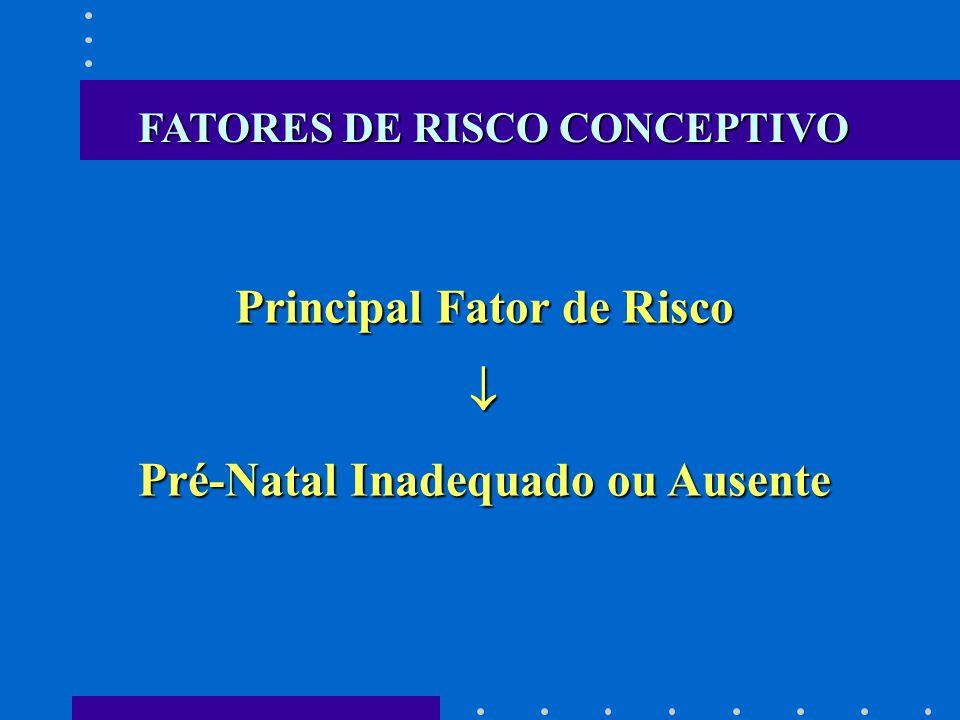 Principal Fator de Risco Pré-Natal Inadequado ou Ausente FATORES DE RISCO CONCEPTIVO