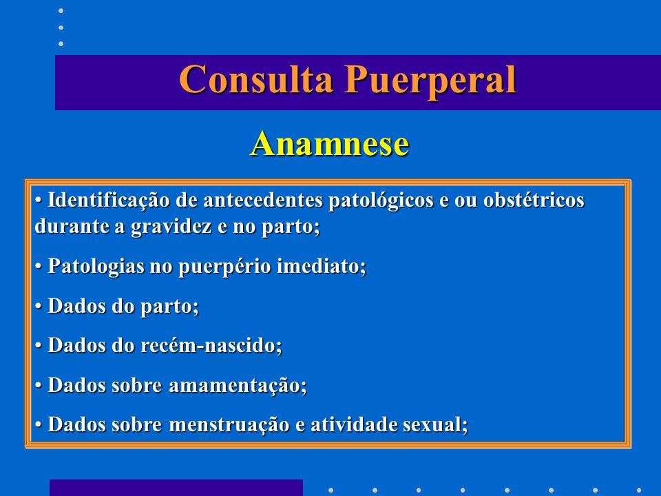 Consulta Puerperal Anamnese Identificação de antecedentes patológicos e ou obstétricos durante a gravidez e no parto; Identificação de antecedentes pa