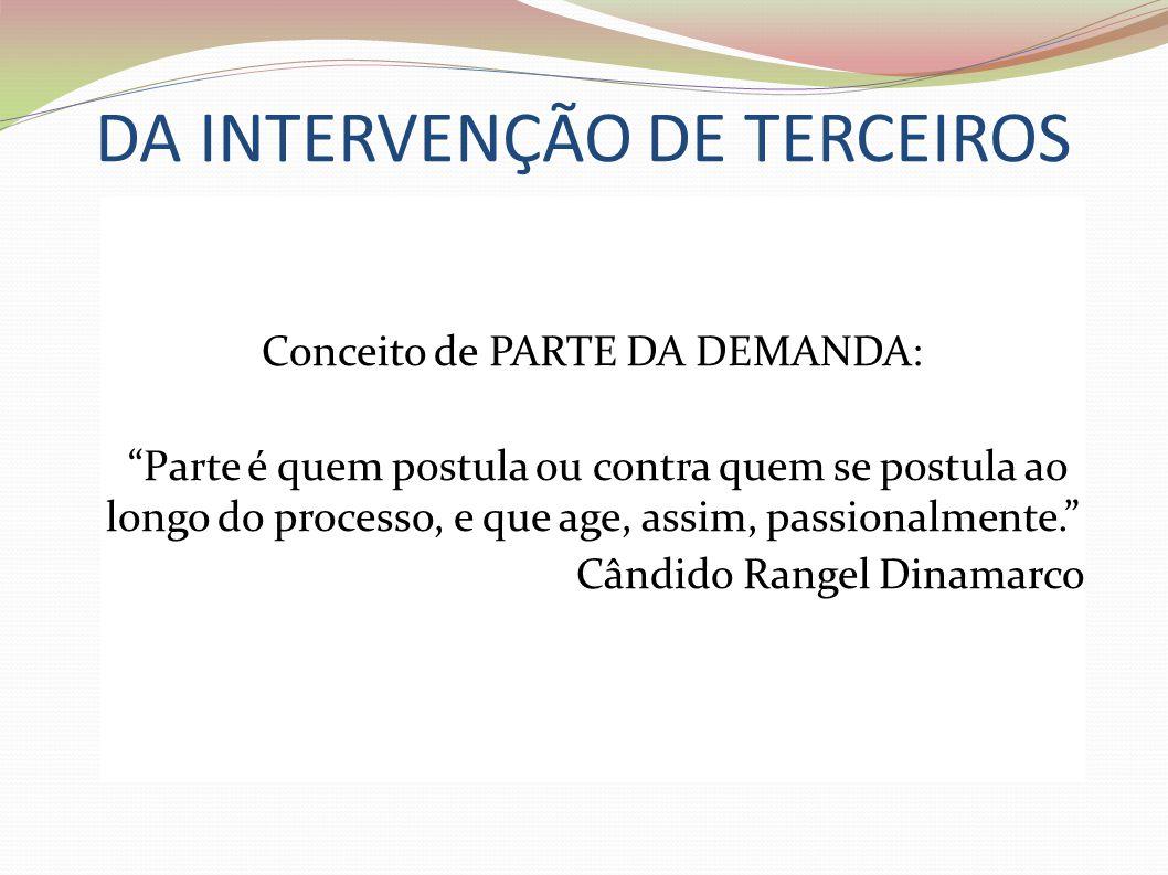 DA INTERVENÇÃO DE TERCEIROS Conceito de PARTE DA DEMANDA: Parte é quem postula ou contra quem se postula ao longo do processo, e que age, assim, passi