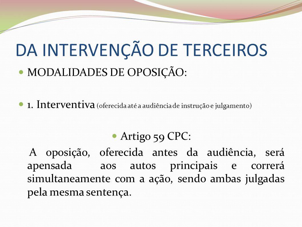 DA INTERVENÇÃO DE TERCEIROS MODALIDADES DE OPOSIÇÃO: 1. Interventiva (oferecida até a audiência de instrução e julgamento) Artigo 59 CPC: A oposição,