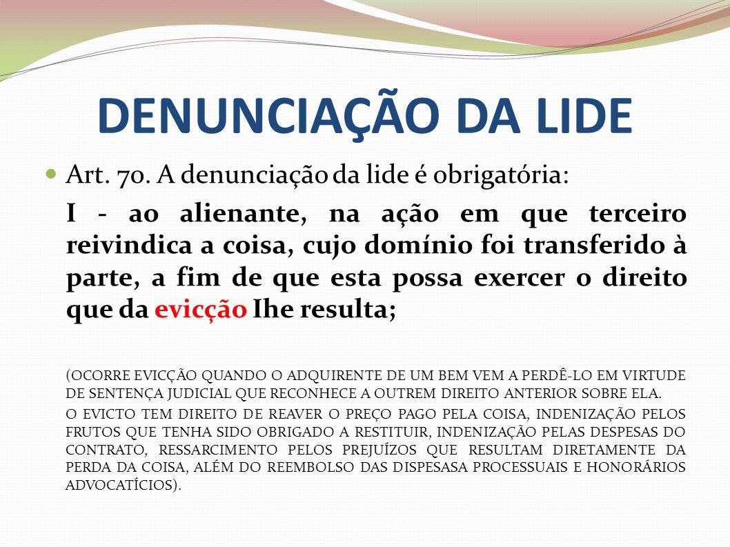 DENUNCIAÇÃO DA LIDE Art. 70. A denunciação da lide é obrigatória: I - ao alienante, na ação em que terceiro reivindica a coisa, cujo domínio foi trans