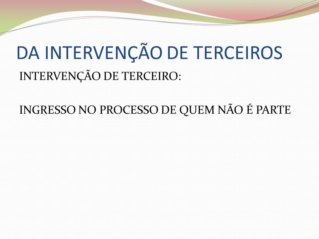 DA INTERVENÇÃO DE TERCEIROS INTERVENÇÃO DE TERCEIRO: INGRESSO NO PROCESSO DE QUEM NÃO É PARTE
