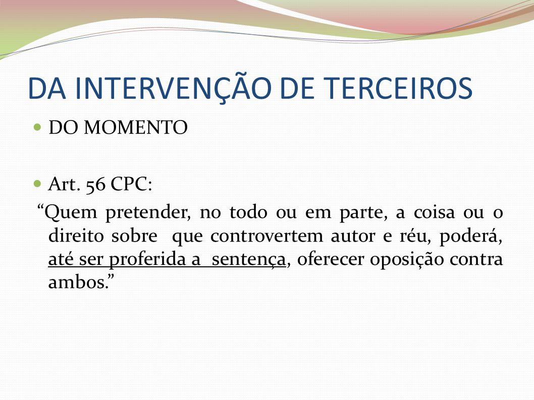DA INTERVENÇÃO DE TERCEIROS DO MOMENTO Art. 56 CPC: Quem pretender, no todo ou em parte, a coisa ou o direito sobre que controvertem autor e réu, pode
