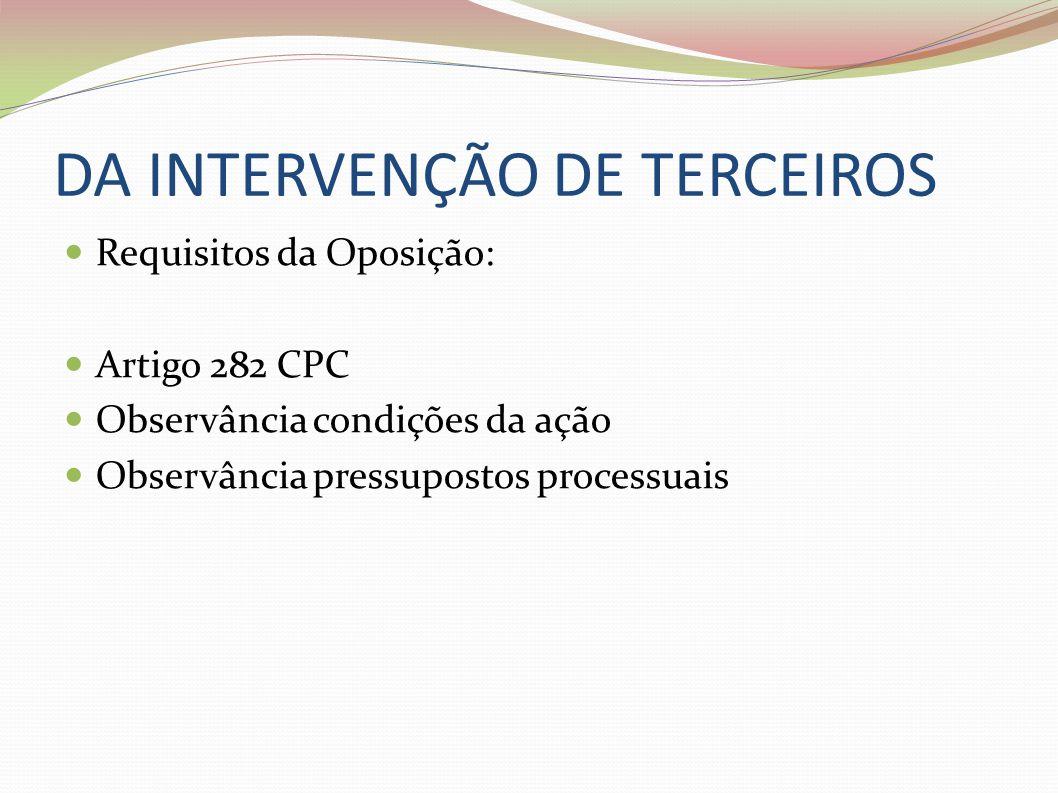 DA INTERVENÇÃO DE TERCEIROS Requisitos da Oposição: Artigo 282 CPC Observância condições da ação Observância pressupostos processuais
