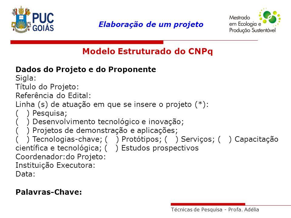 Técnicas de Pesquisa - Profa. Adélia Elaboração de um projeto Modelo Estruturado do CNPq Dados do Projeto e do Proponente Sigla: Título do Projeto: Re