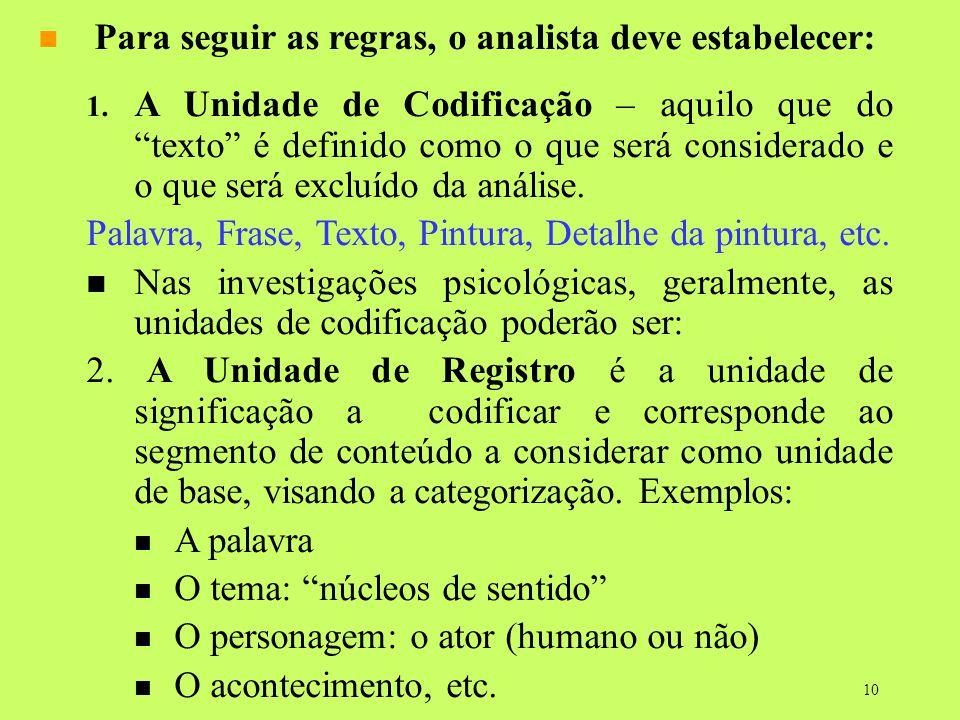 10 Para seguir as regras, o analista deve estabelecer: 1. A Unidade de Codificação – aquilo que do texto é definido como o que será considerado e o qu