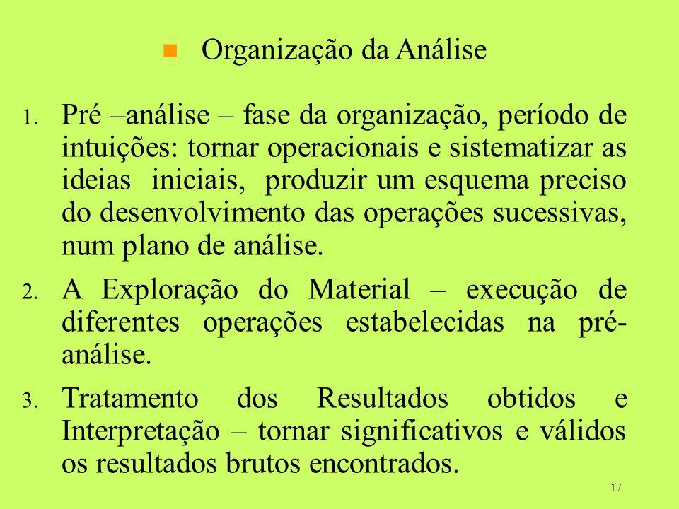 17 Organização da Análise 1. Pré –análise – fase da organização, período de intuições: tornar operacionais e sistematizar as ideias iniciais, produzir