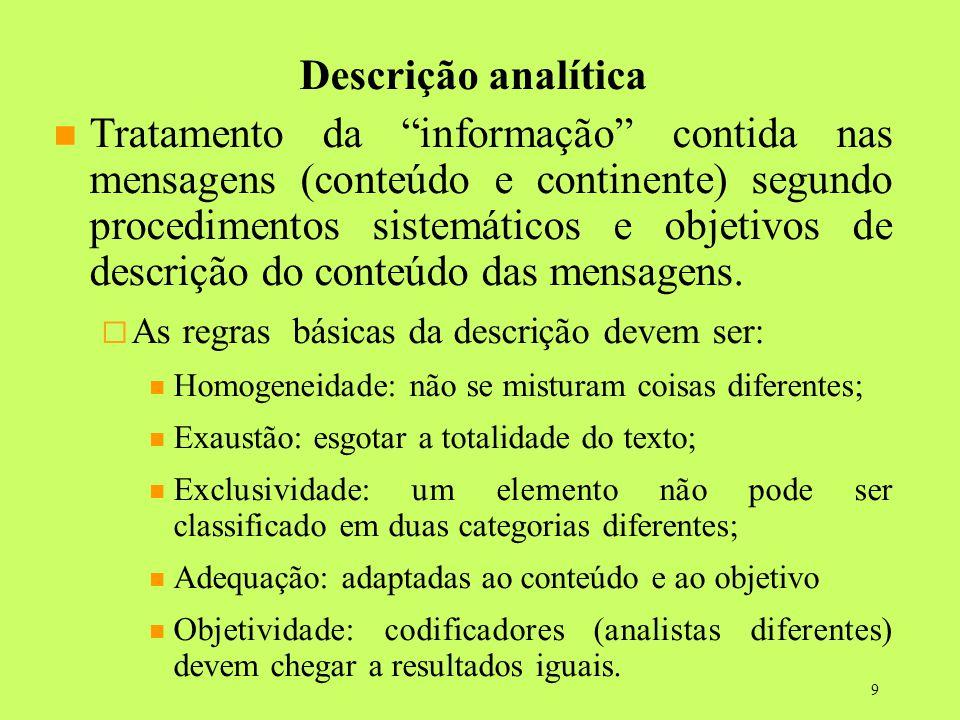 9 Descrição analítica Tratamento da informação contida nas mensagens (conteúdo e continente) segundo procedimentos sistemáticos e objetivos de descriç