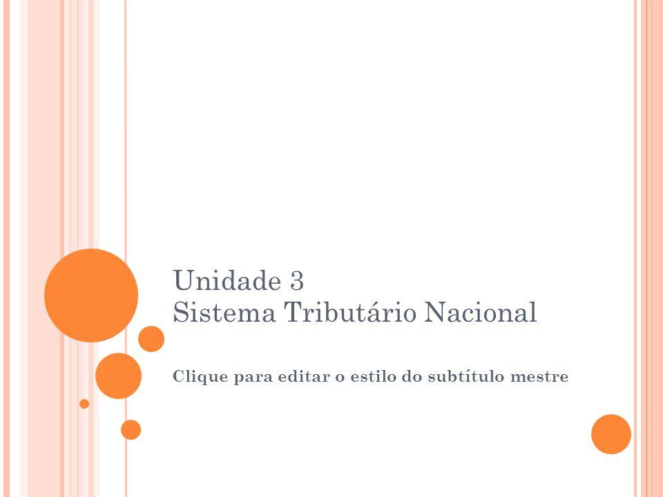 Clique para editar o estilo do subtítulo mestre 23/08/12 Unidade 3 Sistema Tributário Nacional