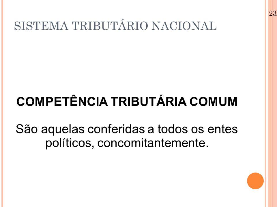 23/08/12 SISTEMA TRIBUTÁRIO NACIONAL COMPETÊNCIA TRIBUTÁRIA COMUM São aquelas conferidas a todos os entes políticos, concomitantemente.