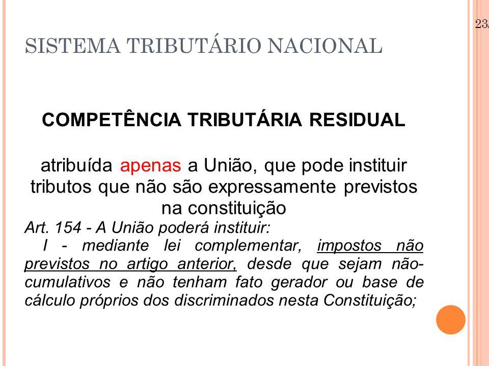 23/08/12 SISTEMA TRIBUTÁRIO NACIONAL COMPETÊNCIA TRIBUTÁRIA RESIDUAL atribuída apenas a União, que pode instituir tributos que não são expressamente previstos na constituição Art.