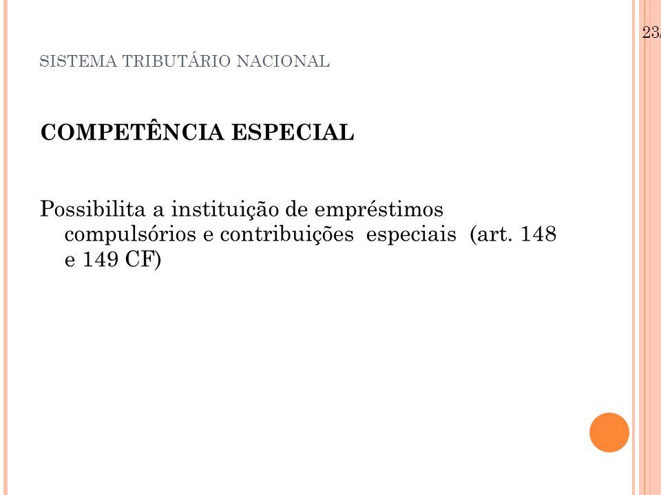 SISTEMA TRIBUTÁRIO NACIONAL COMPETÊNCIA ESPECIAL Possibilita a instituição de empréstimos compulsórios e contribuições especiais (art.