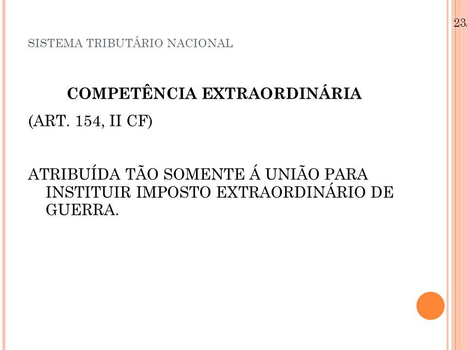 SISTEMA TRIBUTÁRIO NACIONAL COMPETÊNCIA EXTRAORDINÁRIA (ART.