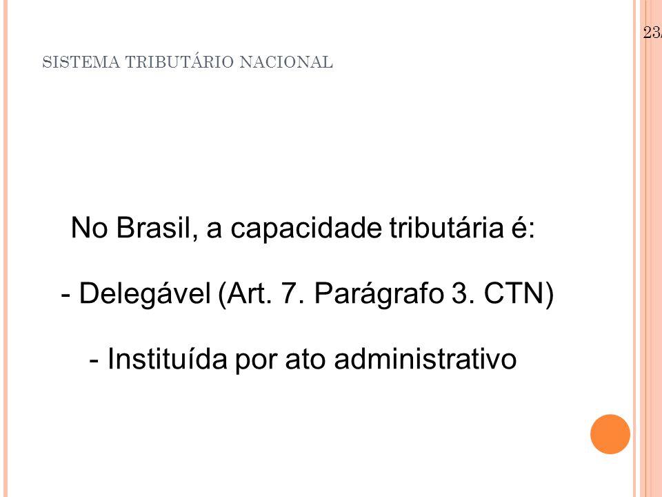 23/08/12 SISTEMA TRIBUTÁRIO NACIONAL No Brasil, a capacidade tributária é: - Delegável (Art.