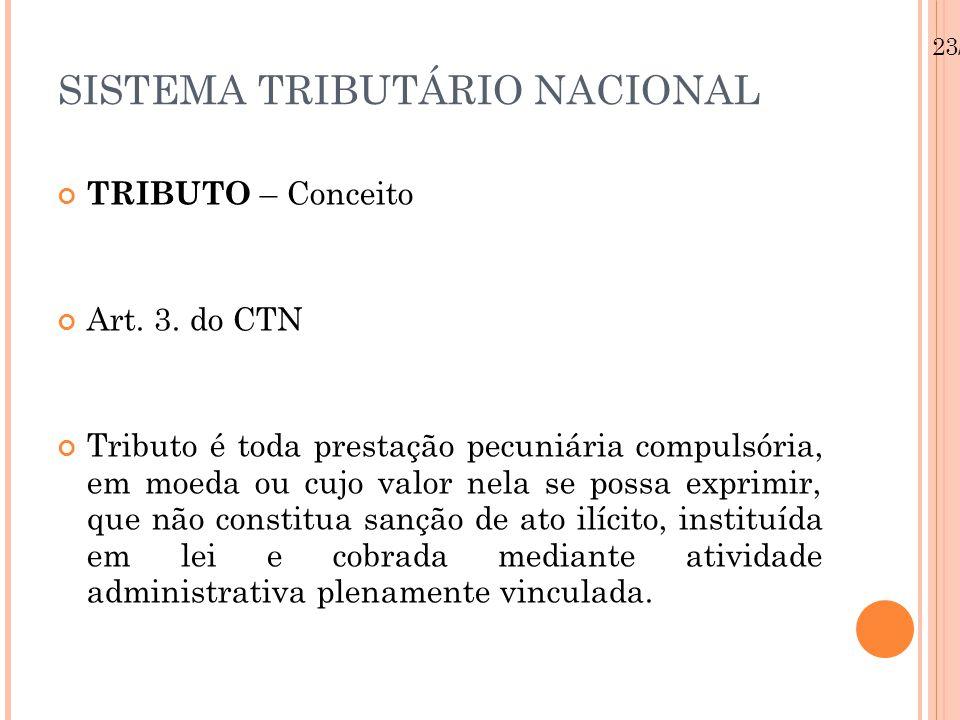 23/08/12 SISTEMA TRIBUTÁRIO NACIONAL TRIBUTO – Conceito Art.