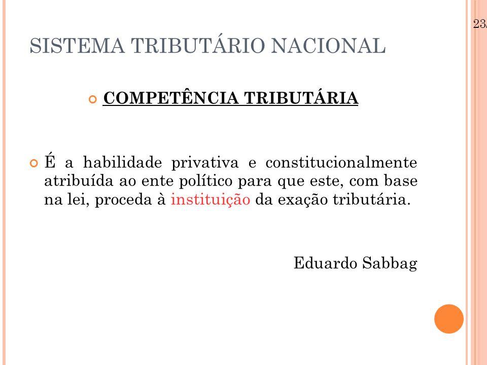 23/08/12 SISTEMA TRIBUTÁRIO NACIONAL COMPETÊNCIA TRIBUTÁRIA É a habilidade privativa e constitucionalmente atribuída ao ente político para que este, com base na lei, proceda à instituição da exação tributária.