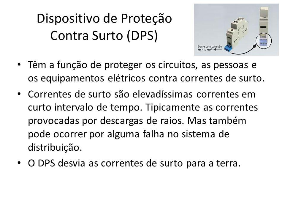 Dispositivo de Proteção Contra Surto (DPS) Têm a função de proteger os circuitos, as pessoas e os equipamentos elétricos contra correntes de surto. Co