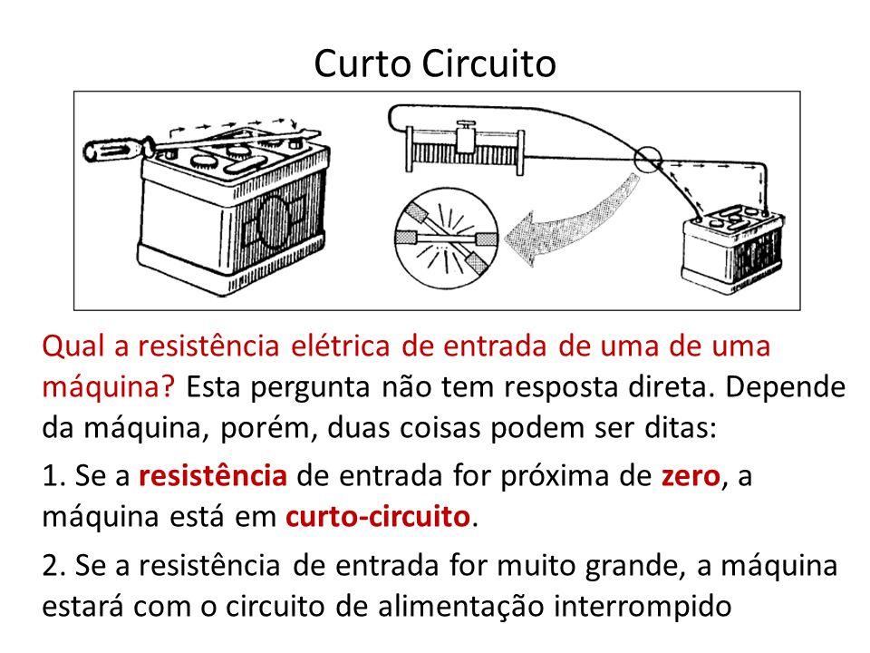 Curto Circuito Qual a resistência elétrica de entrada de uma de uma máquina? Esta pergunta não tem resposta direta. Depende da máquina, porém, duas co