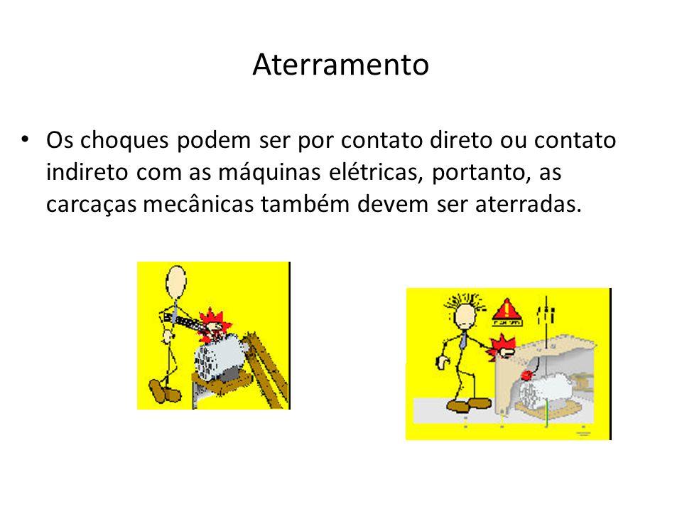Aterramento Os choques podem ser por contato direto ou contato indireto com as máquinas elétricas, portanto, as carcaças mecânicas também devem ser at