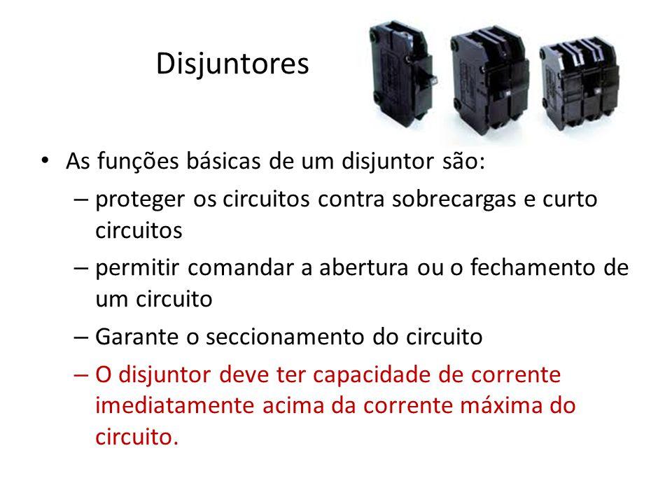 Disjuntores As funções básicas de um disjuntor são: – proteger os circuitos contra sobrecargas e curto circuitos – permitir comandar a abertura ou o f