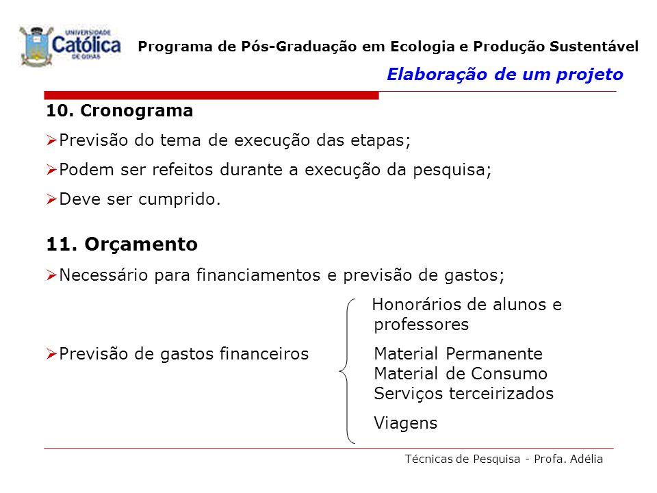 Técnicas de Pesquisa - Profa. Adélia Programa de Pós-Graduação em Ecologia e Produção Sustentável 10. Cronograma Previsão do tema de execução das etap