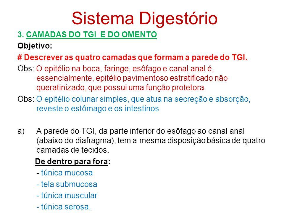 Sistema Digestório - defecação: resíduos, substâncias indigeríveis, bactérias, células descartadas do revestimento do TGI e materiais digeridos que nã