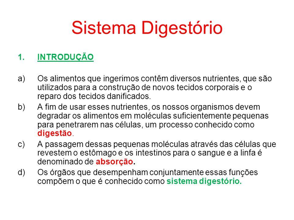 Sistema Digestório 1.INTRODUÇÃO a)Os alimentos que ingerimos contêm diversos nutrientes, que são utilizados para a construção de novos tecidos corporais e o reparo dos tecidos danificados.