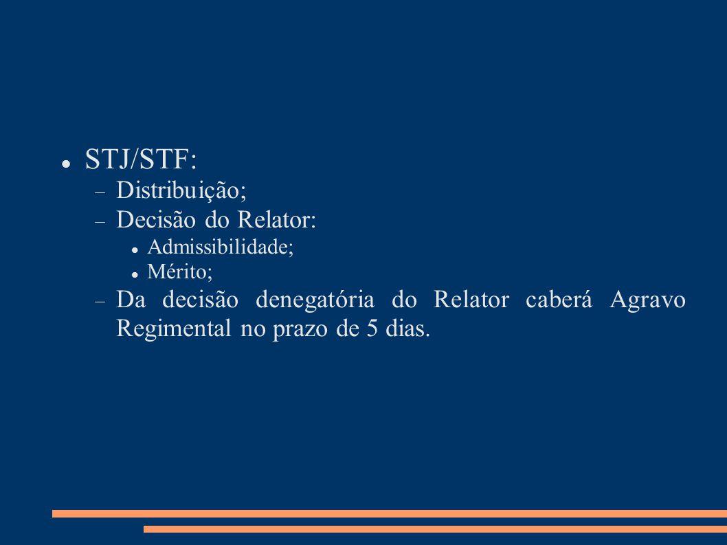 STJ/STF: Distribuição; Decisão do Relator: Admissibilidade; Mérito; Da decisão denegatória do Relator caberá Agravo Regimental no prazo de 5 dias.