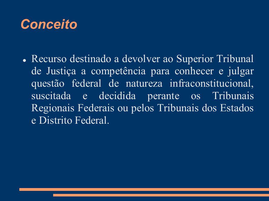 Conceito Recurso destinado a devolver ao Superior Tribunal de Justiça a competência para conhecer e julgar questão federal de natureza infraconstituci
