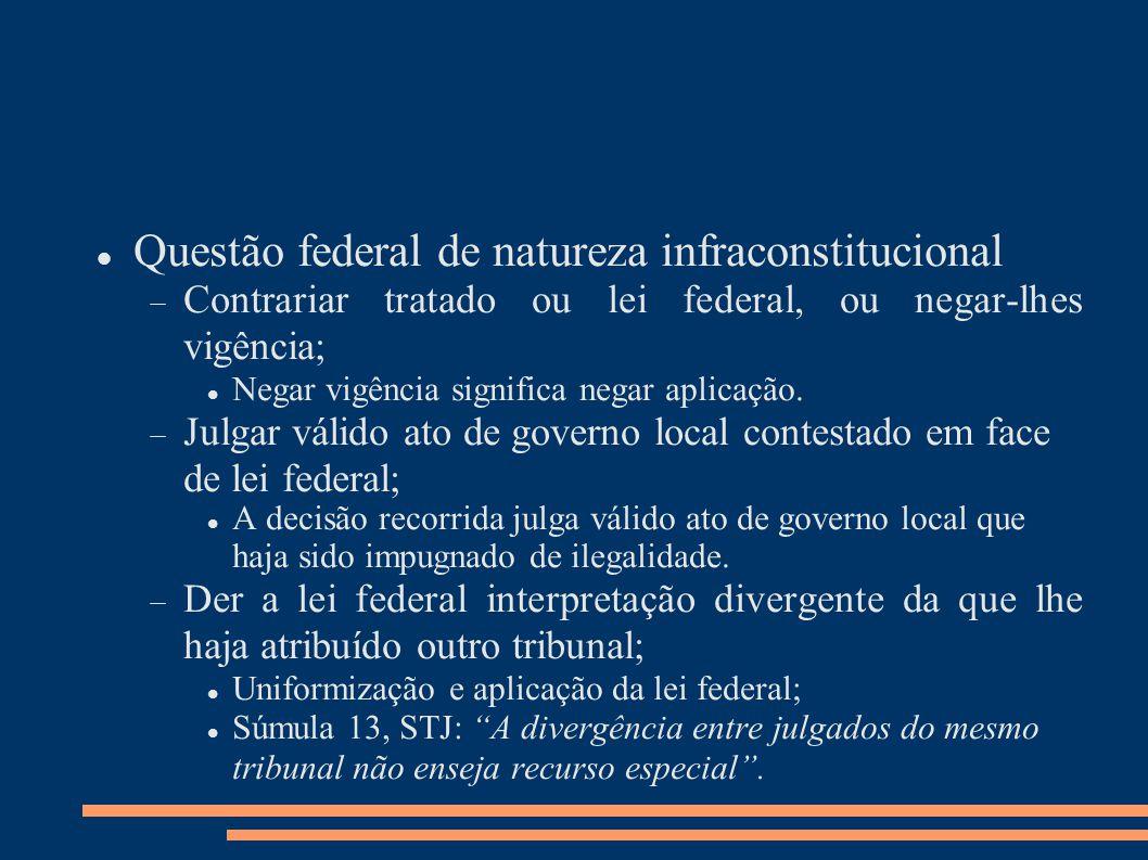 Questão federal de natureza infraconstitucional Contrariar tratado ou lei federal, ou negar-lhes vigência; Negar vigência significa negar aplicação.