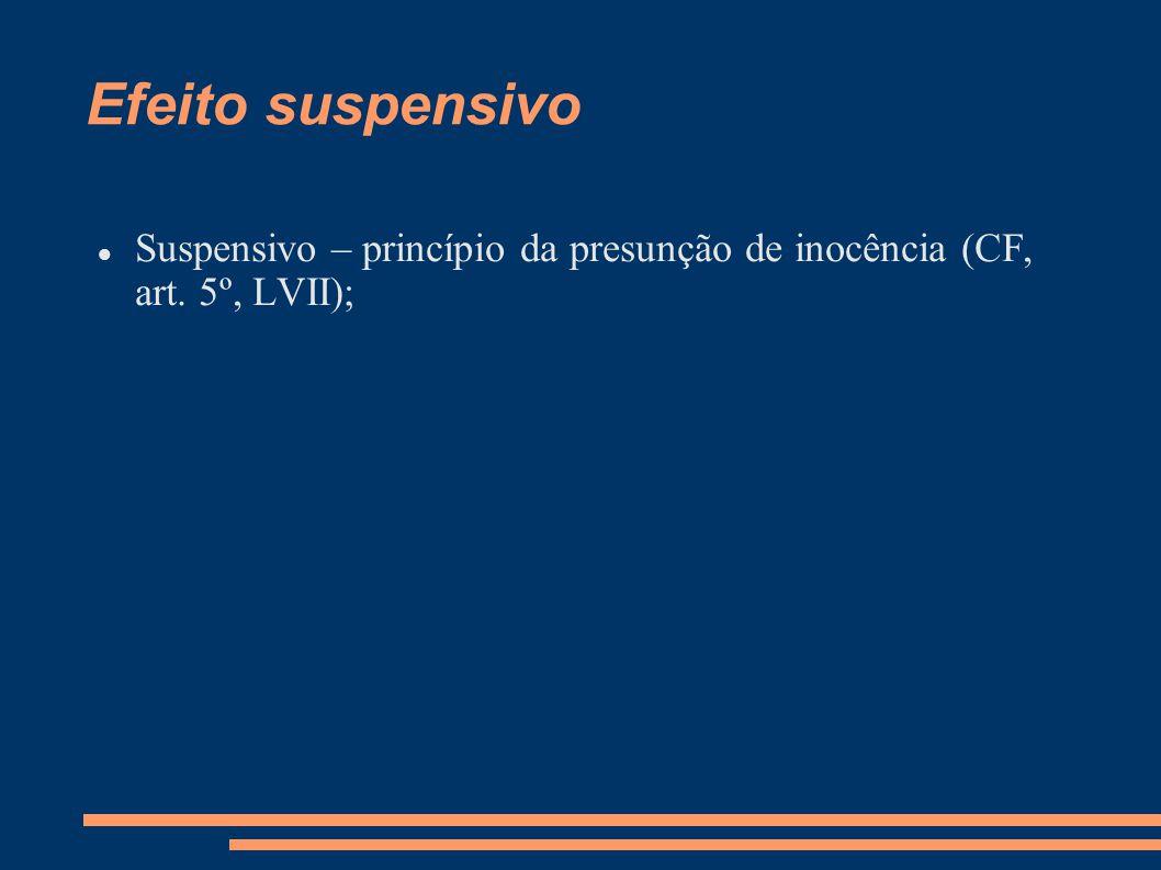 Efeito suspensivo Suspensivo – princípio da presunção de inocência (CF, art. 5º, LVII);