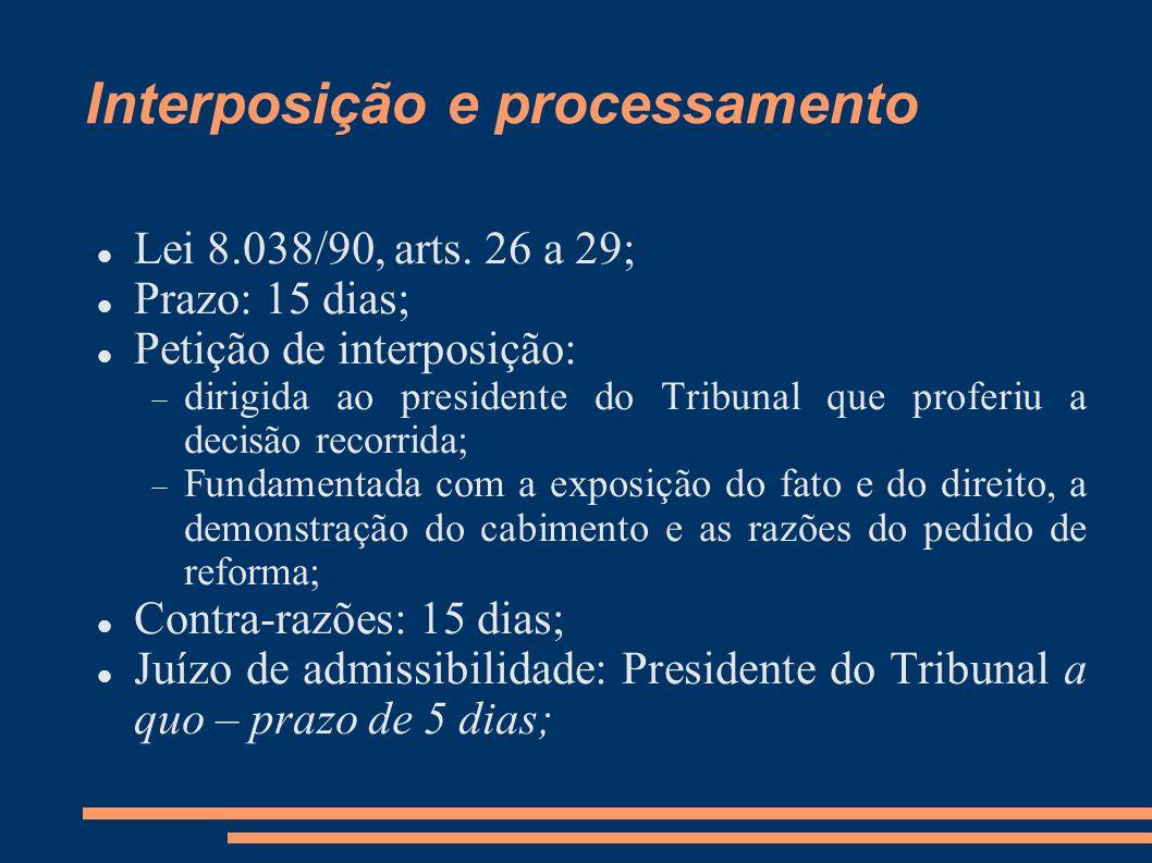 Interposição e processamento Lei 8.038/90, arts.