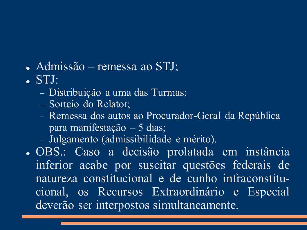 Admissão – remessa ao STJ; STJ: Distribuição a uma das Turmas; Sorteio do Relator; Remessa dos autos ao Procurador-Geral da República para manifestação – 5 dias; Julgamento (admissibilidade e mérito).
