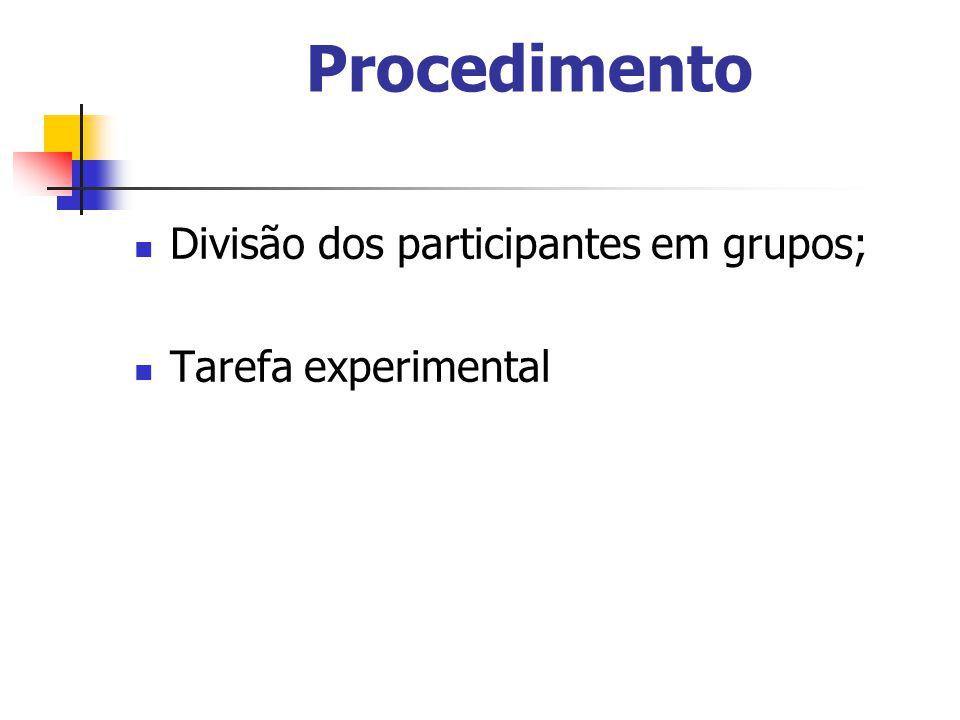 Procedimento Divisão dos participantes em grupos; Tarefa experimental