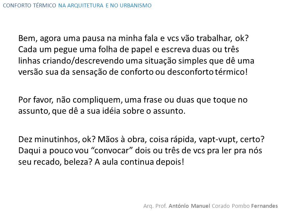 CONFORTO TÉRMICO NA ARQUITETURA E NO URBANISMO Arq.