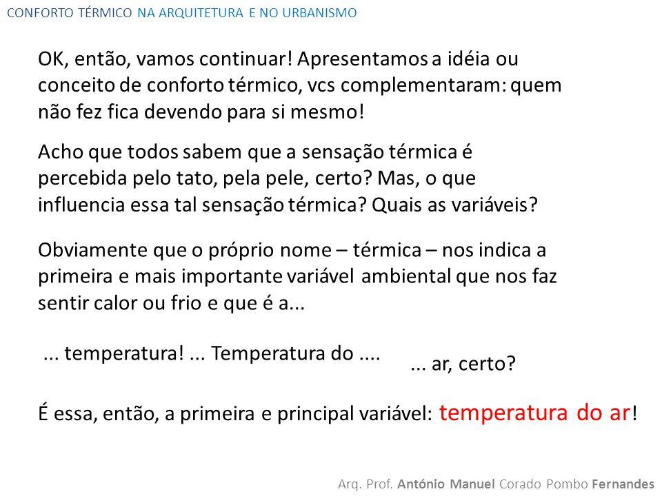 CONFORTO TÉRMICO NA ARQUITETURA E NO URBANISMO Arq. Prof. António Manuel Corado Pombo Fernandes OK, então, vamos continuar! Apresentamos a idéia ou co