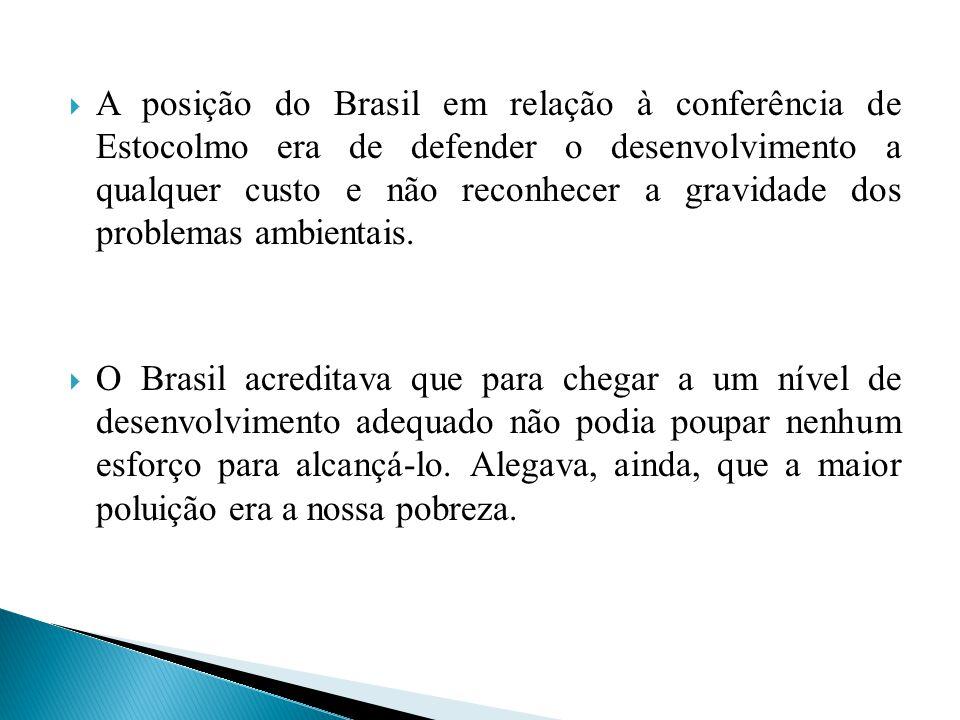 A postura brasileira se deu por dois motivos primordiais: o primeiro é pelo fato do país ter um projeto de combate à pobreza, através do crescimento econômico, amparado na industrialização e na expansão de fronteiras agrícolas, nos mesmos moldes que estavam sendo questionados na conferência.