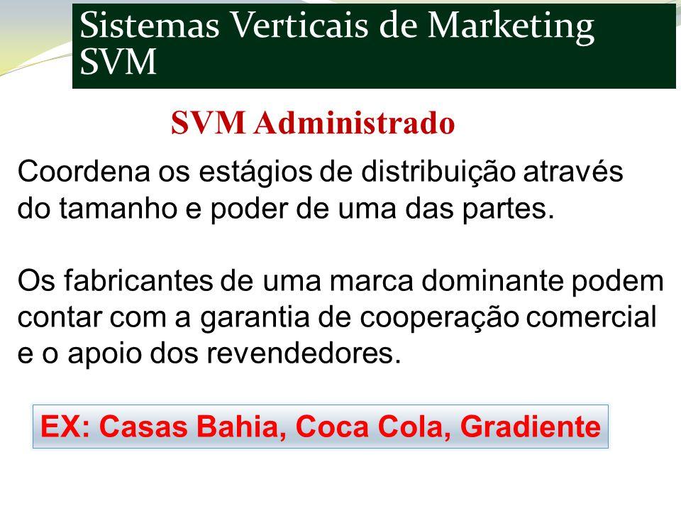 Sistemas Verticais de Marketing SVM SVM Administrado Coordena os estágios de distribuição através do tamanho e poder de uma das partes.