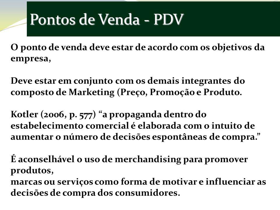 Pontos de Venda - PDV O ponto de venda deve estar de acordo com os objetivos da empresa, Deve estar em conjunto com os demais integrantes do composto de Marketing (Preço, Promoção e Produto.