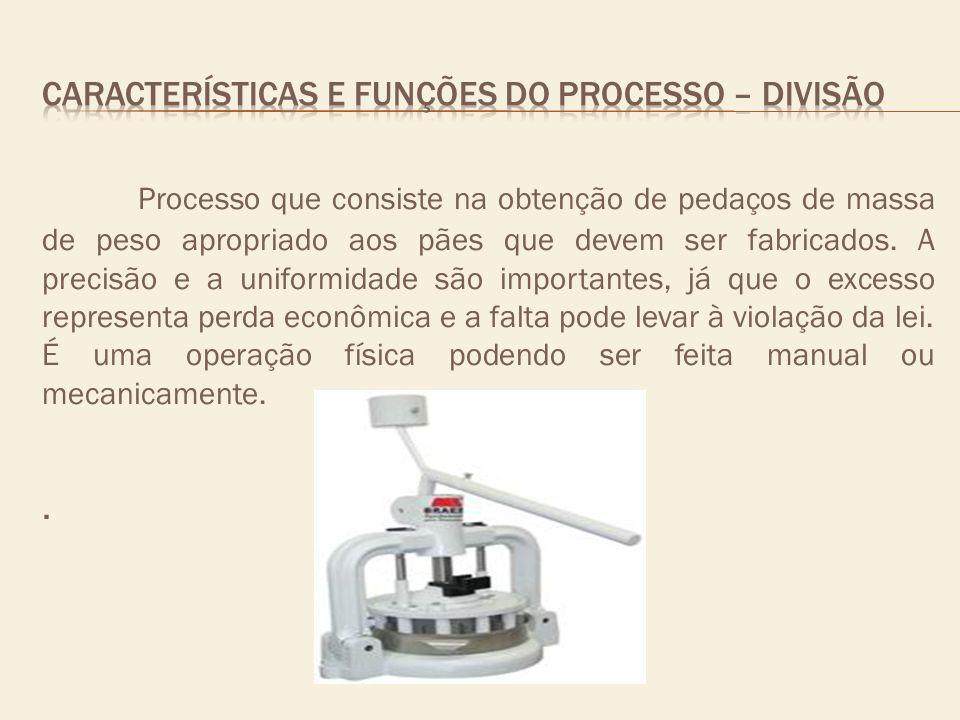 Processo que consiste na obtenção de pedaços de massa de peso apropriado aos pães que devem ser fabricados. A precisão e a uniformidade são importante